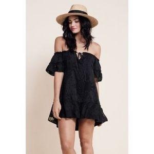 Pina Colada dress- black, off shoulder, floral